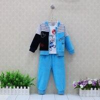 Children Clothing Boys Pure Cotton T Shirts Velour Long Pants With Zipper Jacket 3 Pieces Set
