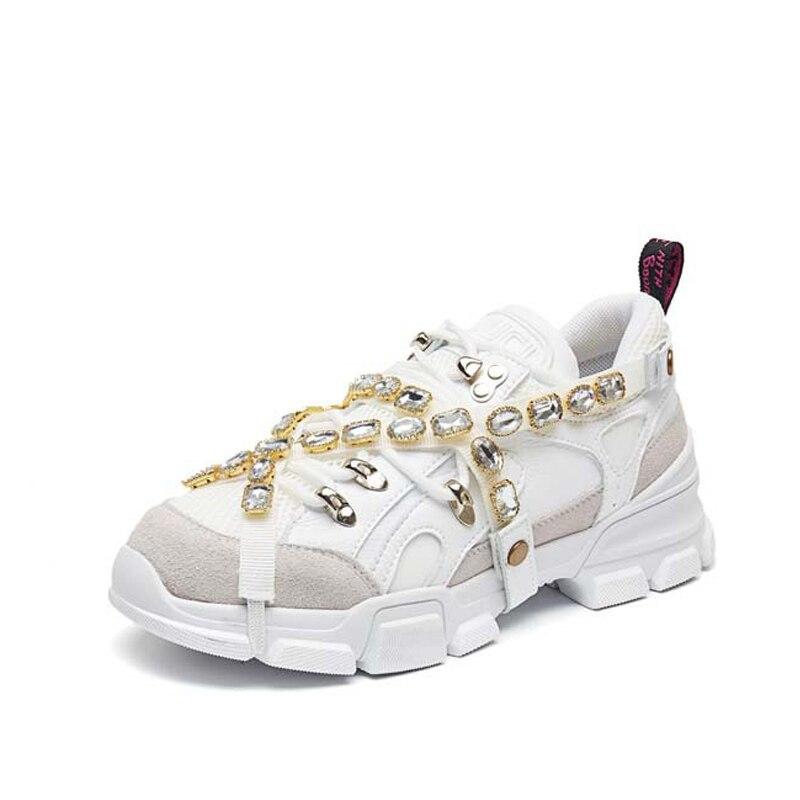 Formateur blanc Compensées Livraison Semelles Chaussure Traniers Femme Strass Directe Dames Femmes attaché Multi 2019 Nouvelle Croix Chaussures Sneaker À q6w8BU