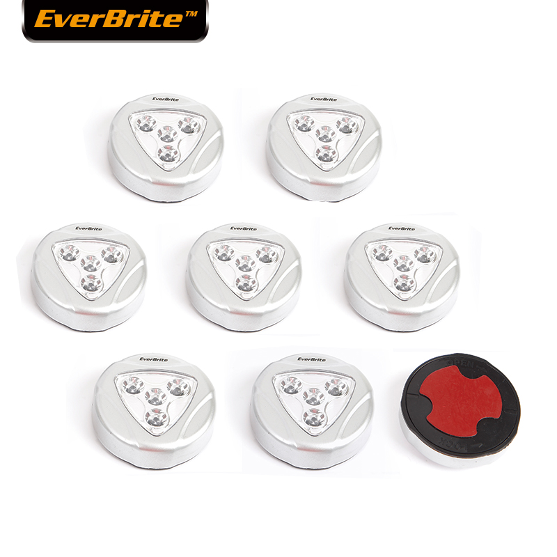 EverBrite 8-pack LED light Wireless Night Light Stick Tap Touch Lamp 4-LED night lamp for Closets Cabinets Counters