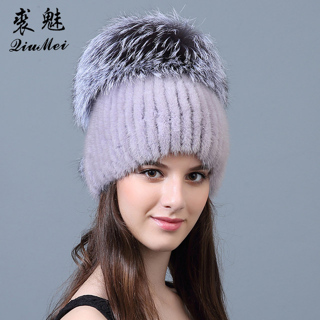 3ae2c21f53c28 Online Shop Real Mink Fur Hats Beanie Fox Pompom 2018 New Luxury ...