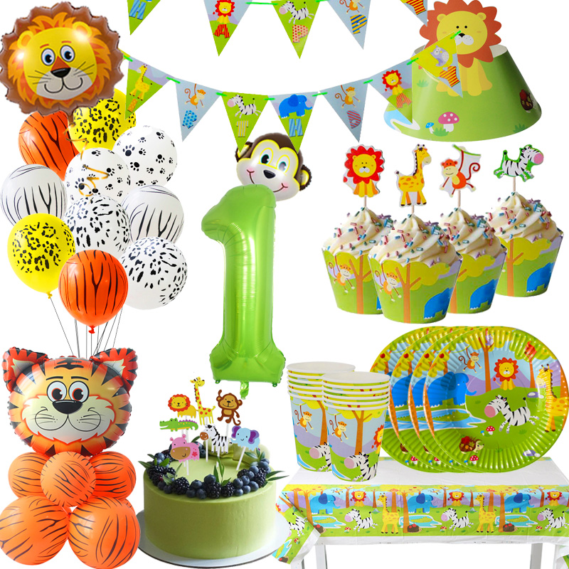 Cyuan Jungle Birthday Party Decoration Green Number Balloons Animal Balloon Safari Party Paper Cup Plate Banner For Kids Party