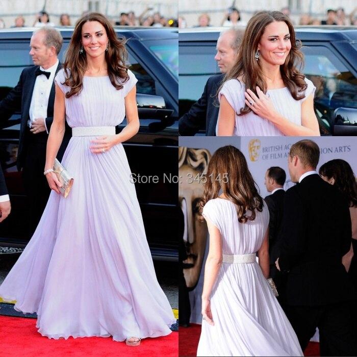 Tapis rouge sur mesure Kate Middleton une ligne de Bateau ceintures simples robes de célébrité en mousseline de soie robe de soirée livraison gratuite