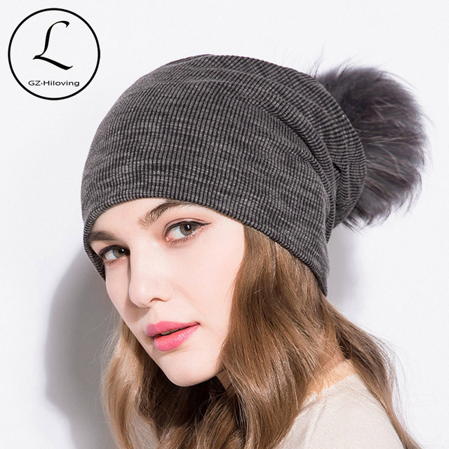 872a73f1a1ece GZHILOVINGL 2018 Spring Winter Cotton Solid Skullies And Beanies Womens  Slouchy Ribbed Knit Beanies Hat Colored Fur Pom Pom Hat