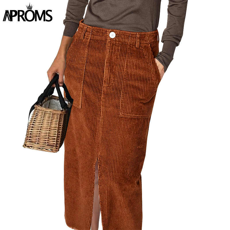 0e69b5d181 Aproms Vintage 70s High Waist Corduroy Skirt Women Winter Streetwear Pocket  A-line Midi Skirt