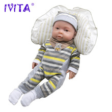 IVITA 2000g 16inch Lovely FULL BODY SILIKONE Reborn Baby Boy Doll Toddler Nyfödd Baby Doll Livlig Med Colthes