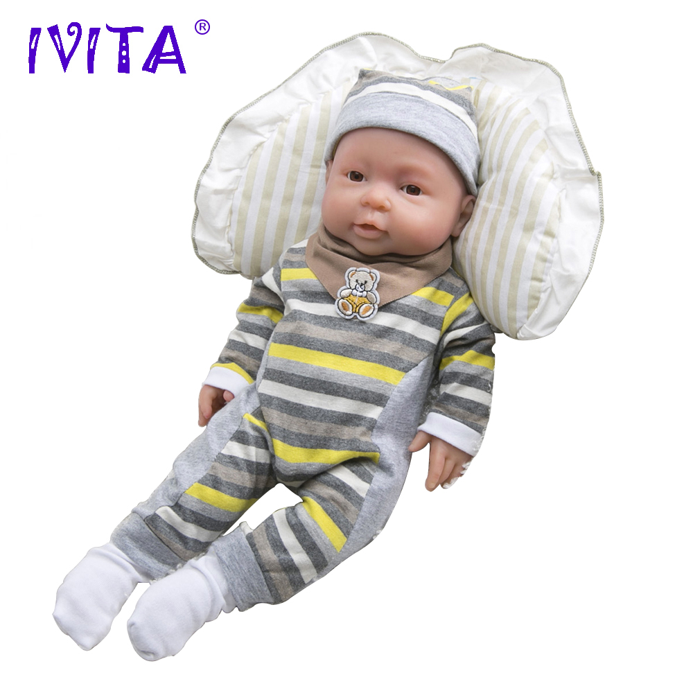 IVITA WB1503 41cm (16inch) 2kg Silicone Reborn Baby Dolls Eyes Opened Alive Realistic Newborn Boy Babies Kids Toys for Girls