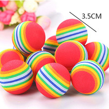 1Pcs Rainbow 3.5cm Cat Toys for Small Cats Interactive Play Chewing Training Pet Supplies Dog Ball Chew