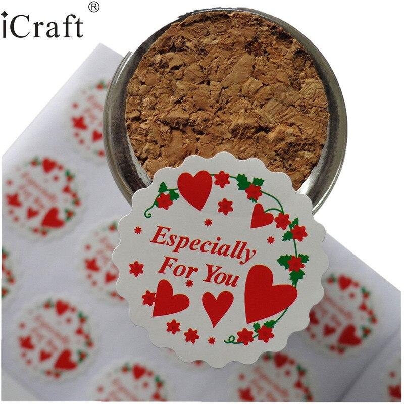 1200 pcs Floral forma coração vermelho impresso Especialmente para você Selo da Etiqueta Etiqueta Ponto Para O Favor de Partido Presente Saco de Doces caixa de Decoração