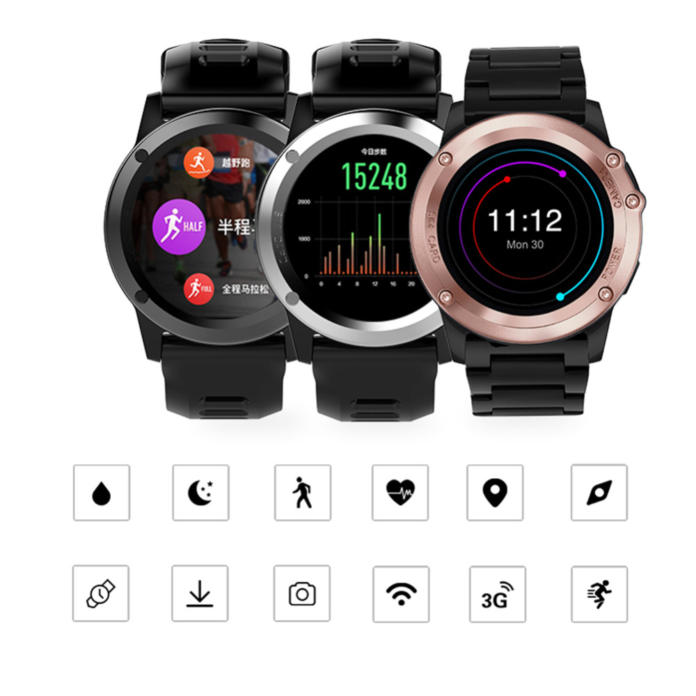 H1 Smart Watch IP68 Waterproof 1.39inch 400*400 GPS Wifi 3G Heart Rate 4GB+512MB smartwatch For Android IOS Camera 500M Pixel h1 smart watch android 4 4 os smartwatch mtk6572 512mb 4gb rom gps sim 3g heart rate monitor camera waterproof sports wristwatch