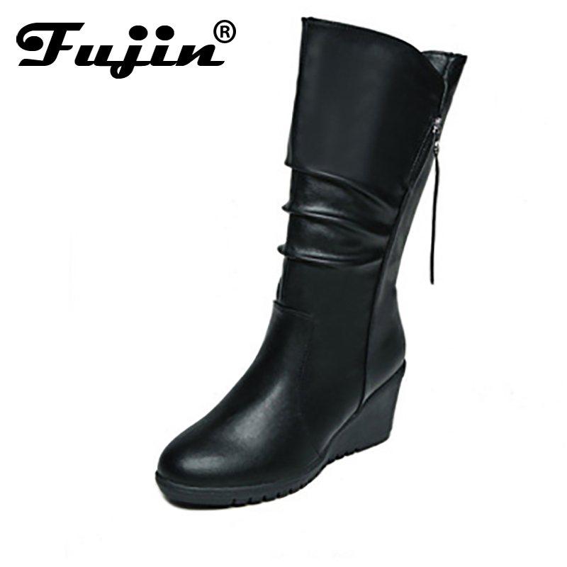 Fujin 2018 New Hot Black Wine Red Mid Heel Platform Knee High Autumn Winter Boots Lady Wedge Zipper Womens Snow Boots Female