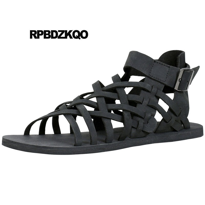 6a47117f Diseñador Marrón Punta Abierta Zapatos Italiano Playa Romano Botas Correa  Moda Piel Genuina Plano Sandalias Gladiador Hombre Verano Negro en Sandalias  de ...