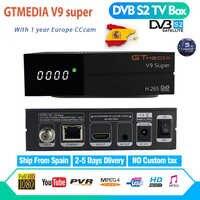 GTmedia V9 Super plus que Freesat V8 Super V8 NOVA DVB-S2 récepteur TV Satellite récepteur décodeur + 1 an 7 lignes CCcam européen