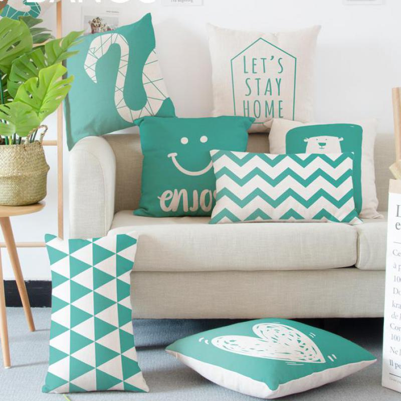 Nordic Style Decoration Green Pillow Geometric Animal Flamingo Elephant Bear Striped Small Triangle Love Cushion For Sofa Chair