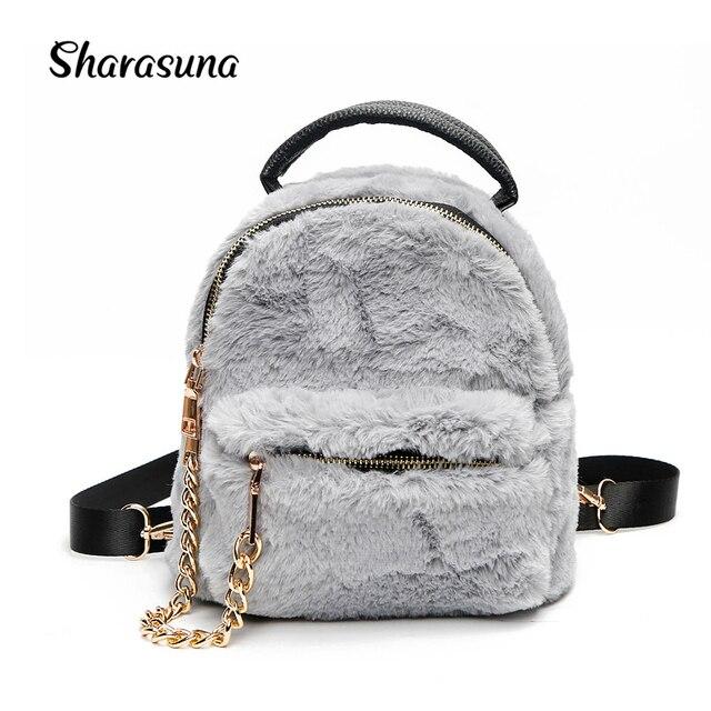 3655a4202f2d Модный новый плюшевый рюкзак с кроличьим мехом 2018 модный милый маленький  рюкзак женские сумки на плечо