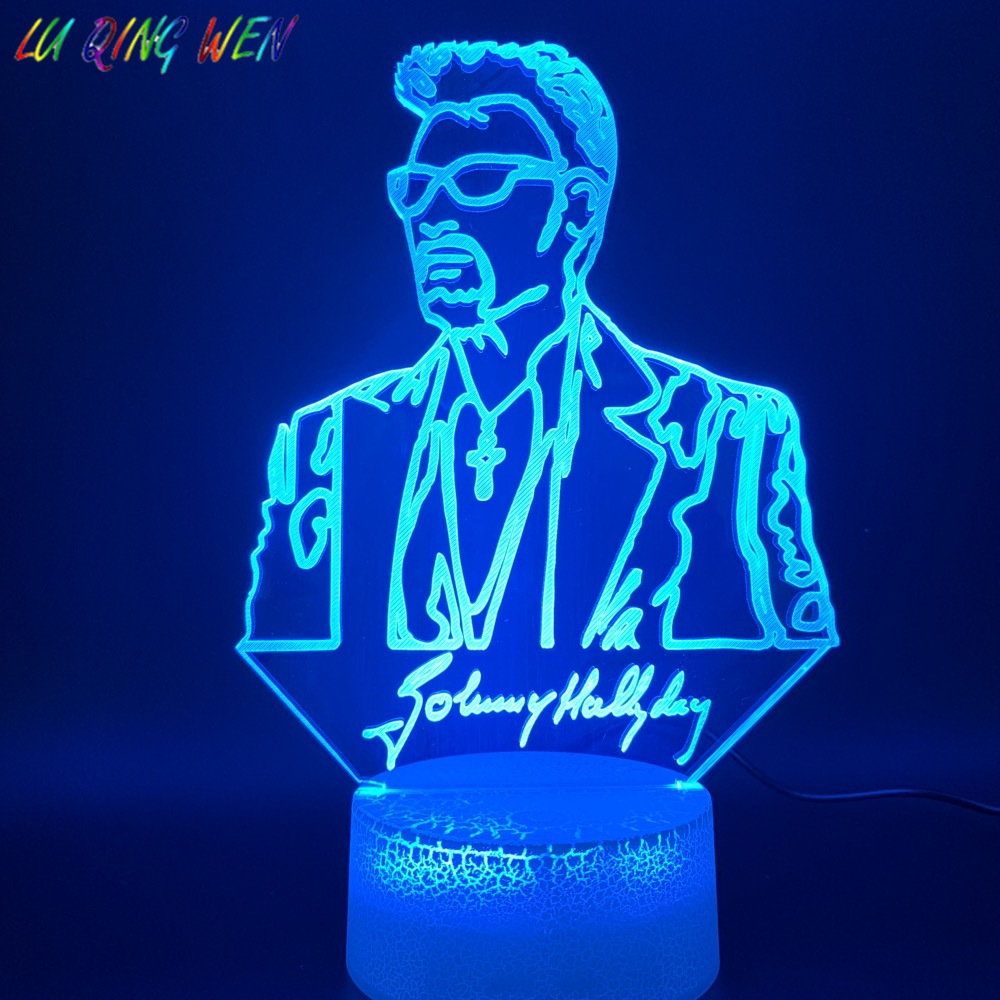 3d Led Night Light Lamp Johnny Hallyday Figure Home Decoration Crafts Bright Base Color Changing Bedroom Nightlight Holiday Gift