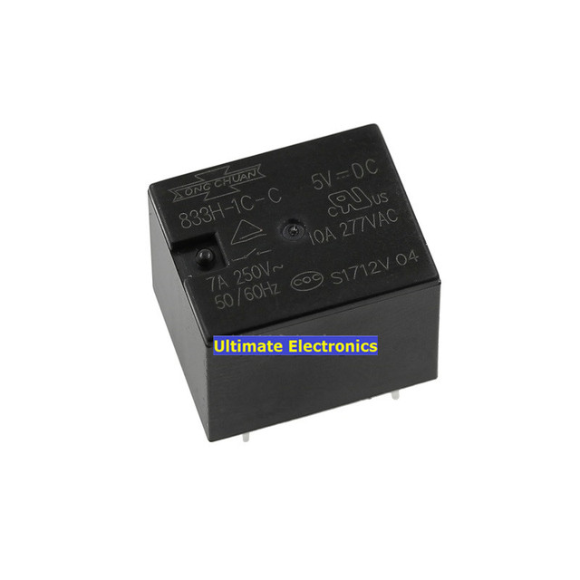 10pcs 833h 1c c 5vdc 7a 5feet one open one closed t73 relay in