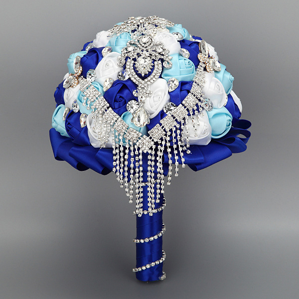 Royal Blue Luxury Rhinestone Crystal Artificial Bridal Wedding Bouquets Ramo Novia Mariage Bridesmaid Flower Accessoires