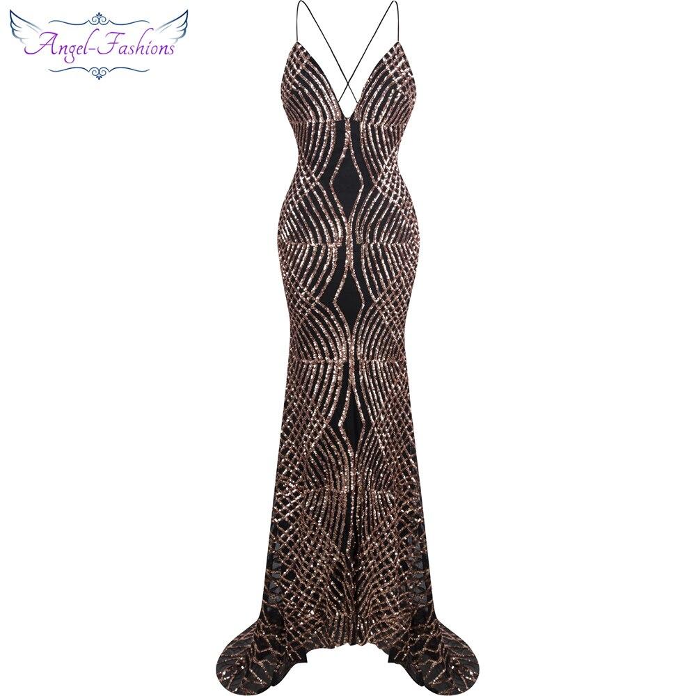 Модное Длинное Вечернее Платье-Русалка с пайетками и бретельками, vestido de noiva, цвет черный, 224
