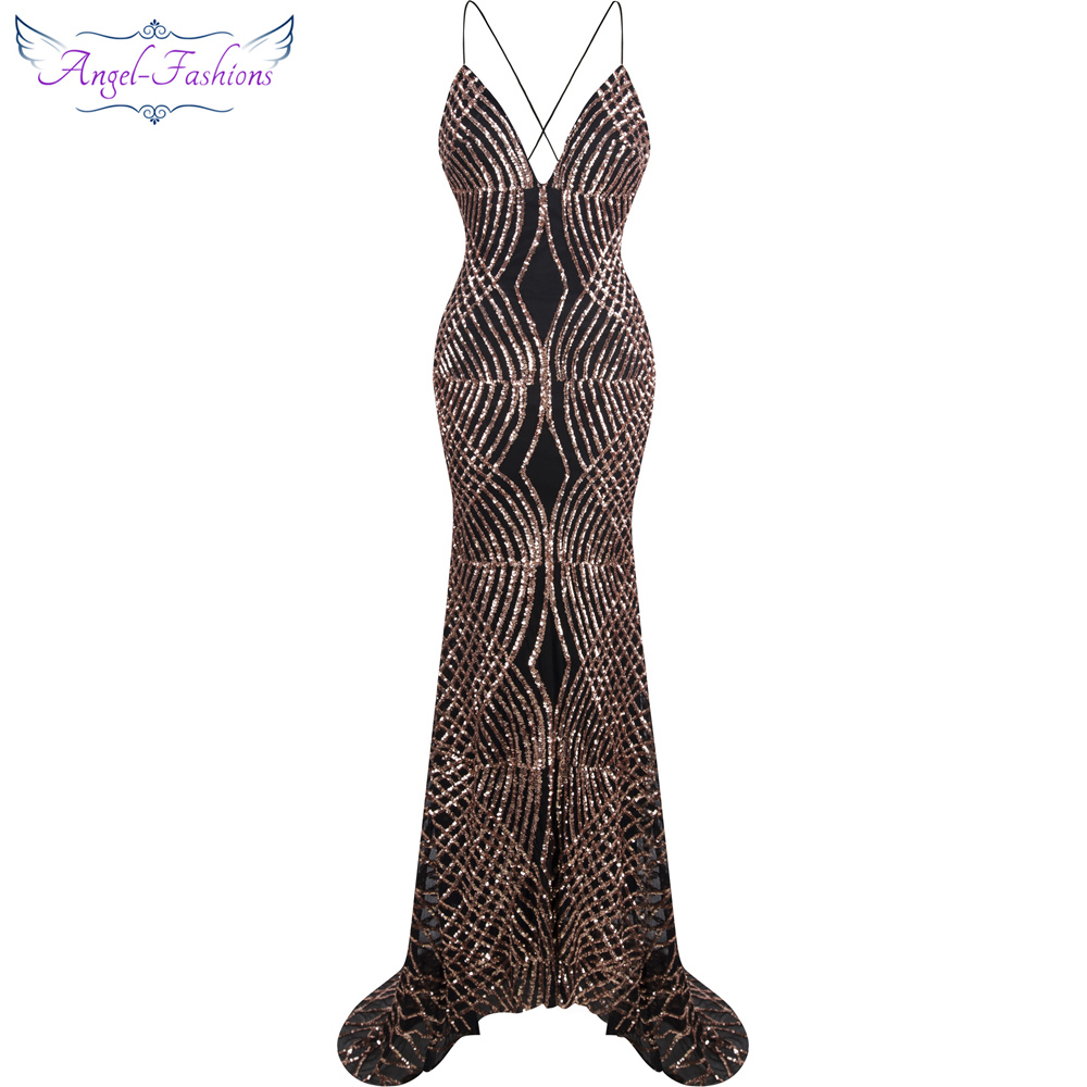 Angel-fashions vestido de noiva Spaghetti strap Lantejoula Tribunal Sereia Longo Vestido De Noite Preto 224