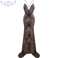 Angel Fashions Vestido De Noiva Spaghetti Strap Sequin Court Mermaid Long Evening Dress Black