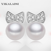 YIKALAISI brand 2017 fashion real natural 7 8mm freshwater pearl stud earrings for women 925 sterling silver jewelry ear studs
