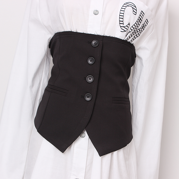 Women's Runway Fashion Black Fabric Cummerbunds Female Dress Corsets Waistband Belts Decoration Wide Belt R1430
