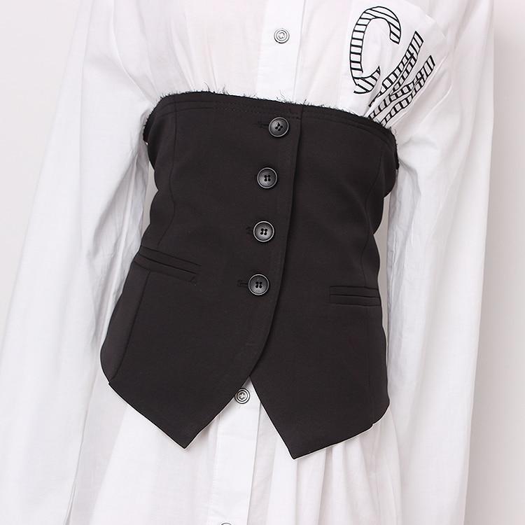 Women's Runway Fashion Black Fabric Cummerbunds Female Dress Corsets Waistband Belts Decoration Wide Belt R1430