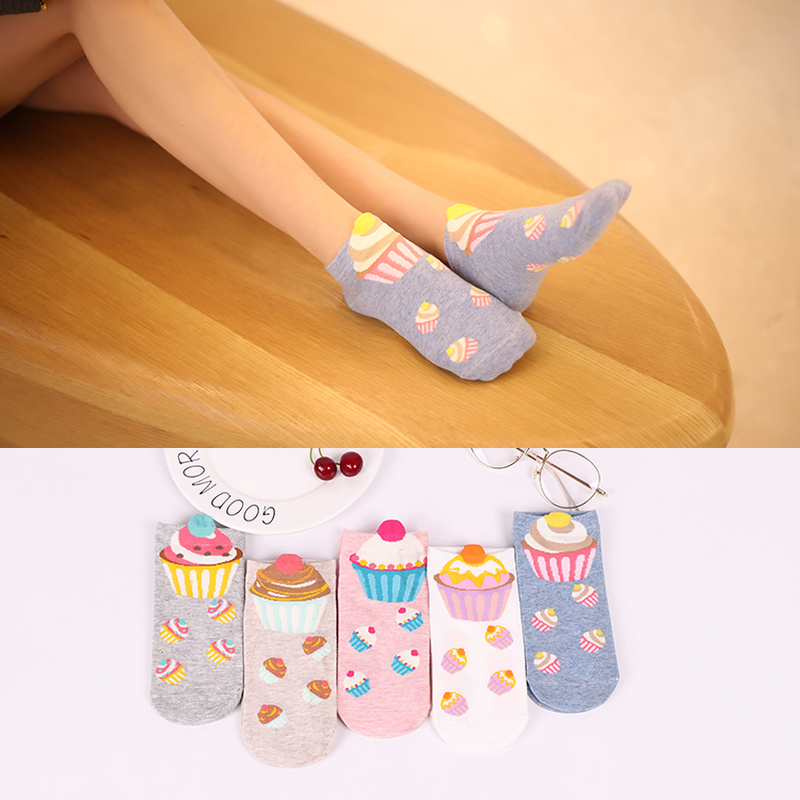 Women's Short Socks Cute Colorful Lovely Kawaii Cartoon Sweet Cotton Women Socks 5 Color Cake Casual Short Socks