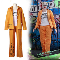 Movie Harley Quinn Costume Prison uniform Sets Printing Women Jester Batman Clown Cospaly Costume Halloween Costumes Fancy Dress