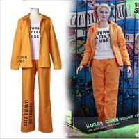 Movie Harley Quinn Costume Prison uniform Sets Printing Women Jester Batman Clown Cospaly Costume Halloween Costumes Fancy Dress