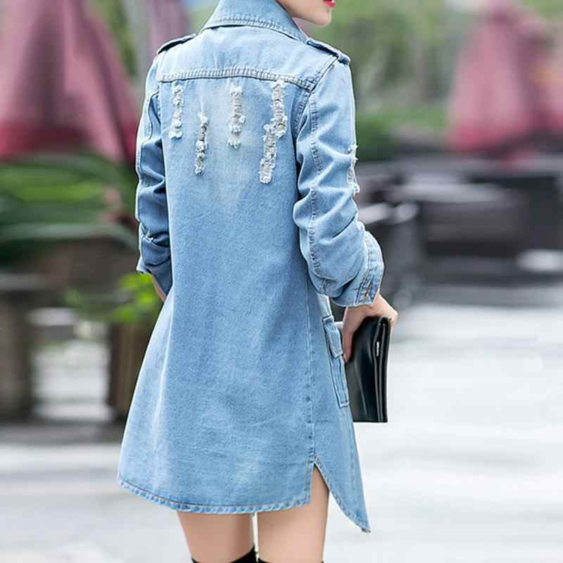 Voorjaar Denim Lange Jas Jas Blauw Slim Fit Wilde Jean Jas Modieuze Streetwear Vrouwelijke Jas Jean Lange Mouwen Pockets
