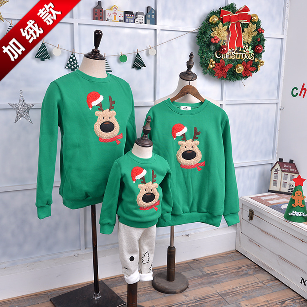 2018 Winter New Korean Version Solid Long-sleeved O-Neck Plus Velvet Red Hat Christmas Elk Sweater Family Matching Outfits