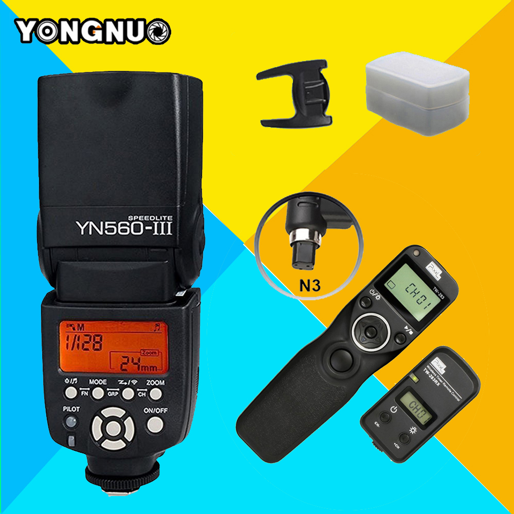 YONGNUO YN560III YN560-III Wireless Flash Speedlite & PIXEL TW-283 N3 Timer Remote Control For Canon 5D Mark II 5D Mark III 7D rs 80n3 wired remote shutter release for canon 5d mark iii 5d mark ii more black 85cm cable