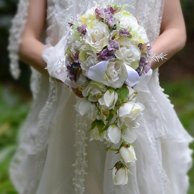 Ivory purple Cascading Bridal Bouquets De Mariage Roses Orchid Artificial Silk Flower Handmade Wedding Bouquet 2018 New Hot Sale