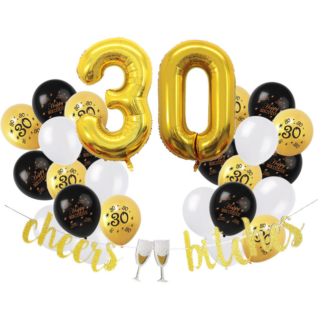ZLJQ 30th Birthday Decoration Party Supplies Foil Balloons Number 3 0 Old Year Happy Black Pink Gold Balloon Banner
