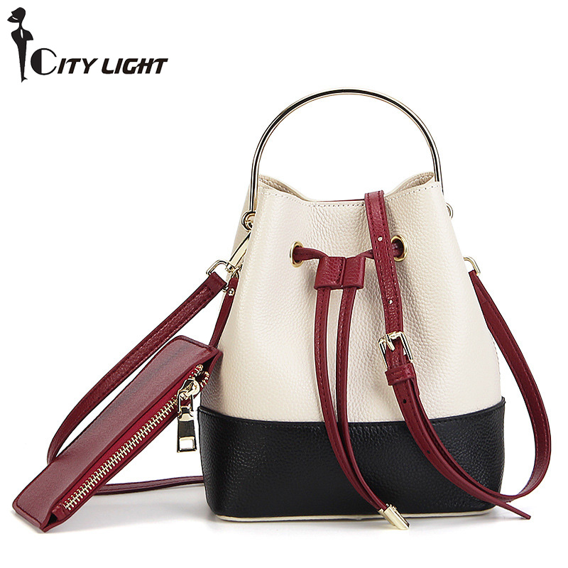 new product bucket bag handbag head layer leather single shoulder slant cross-bag 100% Genuine leather female bag qiaobao 2018 new korean version of the first layer of women s leather packet messenger bag female shoulder diagonal cross bag