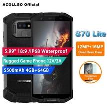 "DOOGEE S70 lite 5.99""FHD IP68 IP69K Waterproof GamePad Mobile Phone MTK6763T Helio P23 Octa Core 2.5G 13MP Android 8.1 4GB+64GB"