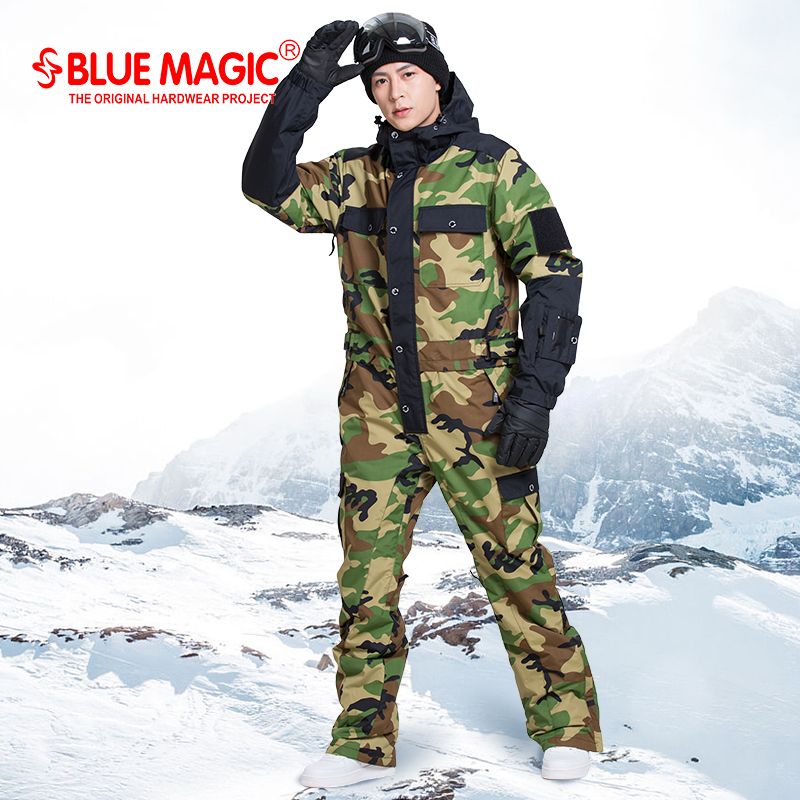 blue magic waterproof snowboarding one piece skiing jumpsuit men snowboard 30 degrees snow ski suit Winter