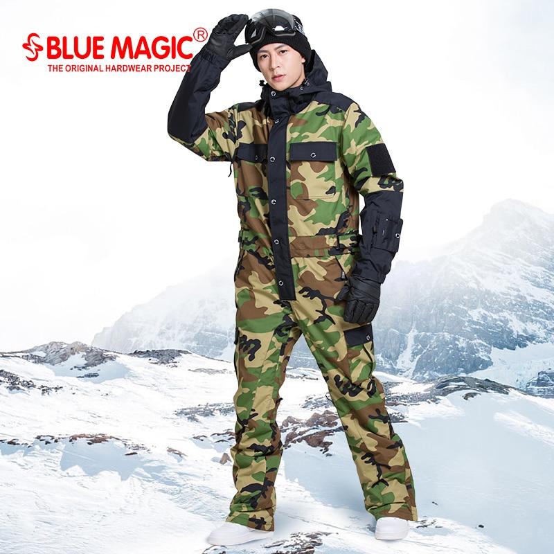Синий волшебный водонепроницаемый Сноубординг цельный лыжный комбинезон для мужчин сноуборд-30 градусов лыжный костюм зимняя одежда комбинезон
