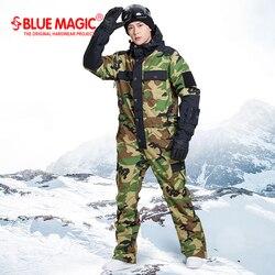 Синий волшебный водонепроницаемый комбинезон для катания на сноуборде, цельный мужской лыжный костюм для катания на сноуборде-30 градусов, ...