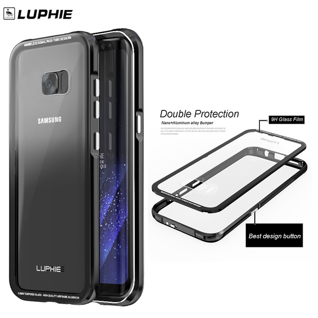 big sale 23a1d b7638 US $15.5 |luphie aluminum Case for samsung galaxy s8 plus metal frame + 9 h  back cover glass for samsung s8+ phone case-in Half-wrapped Cases from ...