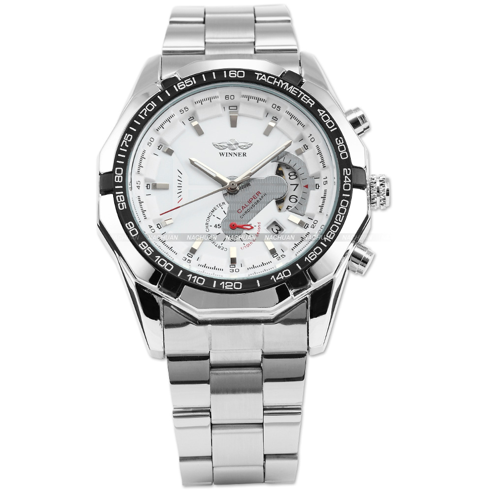Luxury WINNER White Silver Mens Automatic Mechanical Date Display Analog Silver Stainless Steel Band Sports Wrist