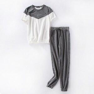 Image 3 - ToLugui Summer Womens Set Short Sleeve Sports Suit Patchwork O Neck t Shirt+Pant 2 Piece Set Tracksuit For Women Sweat Suit