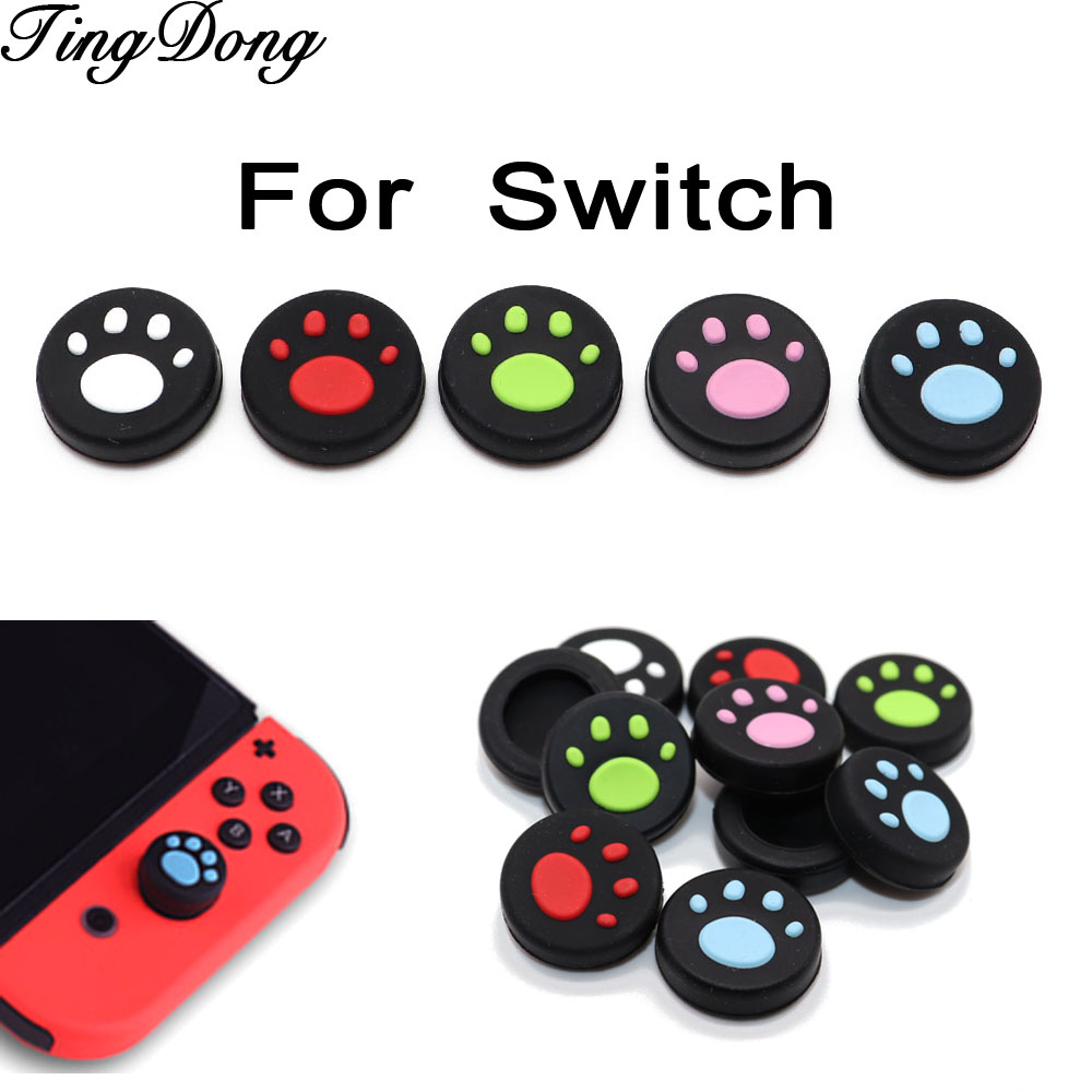 TingDong For Nintend Switch NS Joy-Con Silicone Analog Controller Joysticks Cute Cat Claw Thumb Stick Grips Cap