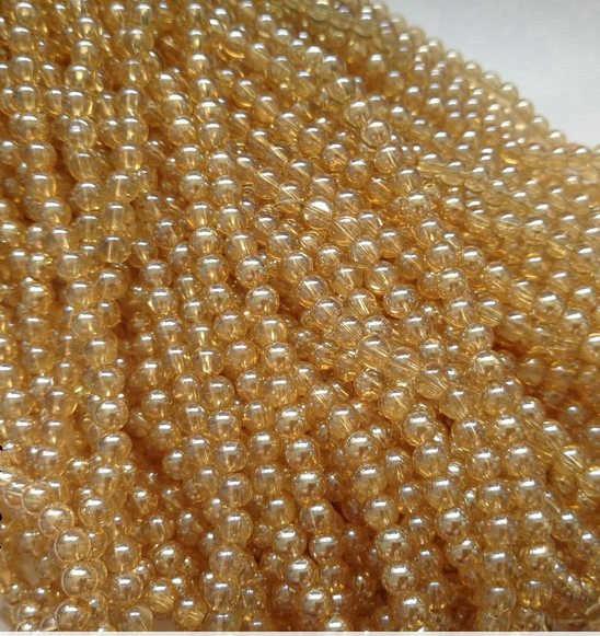 Beauchamp Lampwork Komponen Emas Champagne Kristal Bulat Bahasa Swedia Manik-manik Kaca Kalung Gelang Menjahit Headband Perhiasan Aksesoris