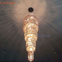 Elegant Modern Long Stair Crystal Chandelier with Four layer K9 Crystal for High Ceiling Living Room +Free shipping