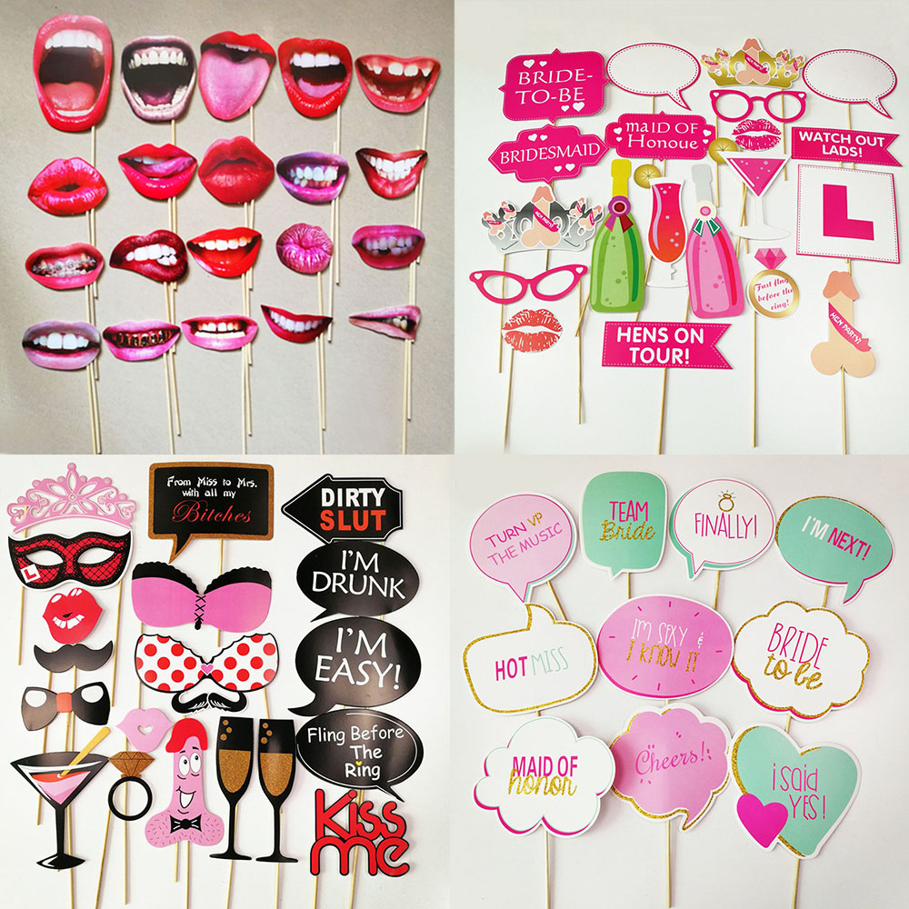 Bachelorette Party Photo Booth Funny Lip Mouth Photobooth Props Team Bride To Be Party Supplies Wedding Decoration Props