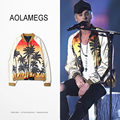 Aolamegs Justin Bieber Jacket Europe And American Style Coconut trees & Beach Printing Cardigan Coat Reglan Sleeve Outerwear