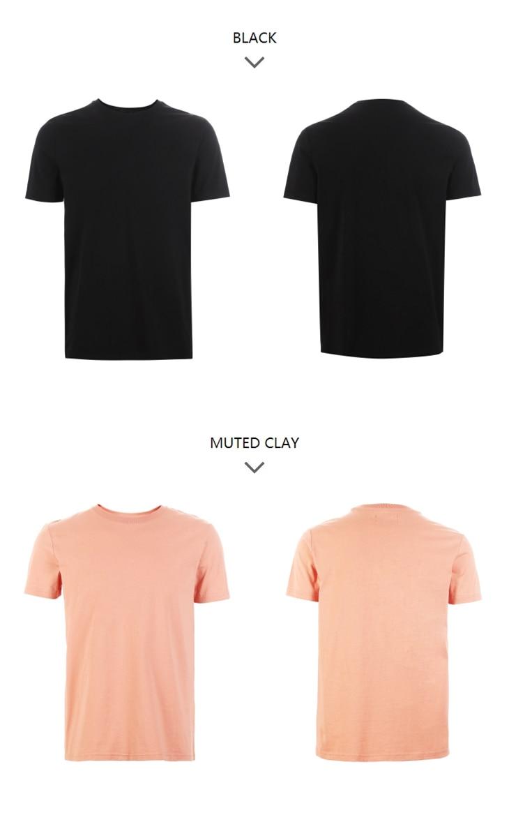 Men's Summer 100% Cotton Pure Color Round Neckline Short-sleeved T-shirt 76