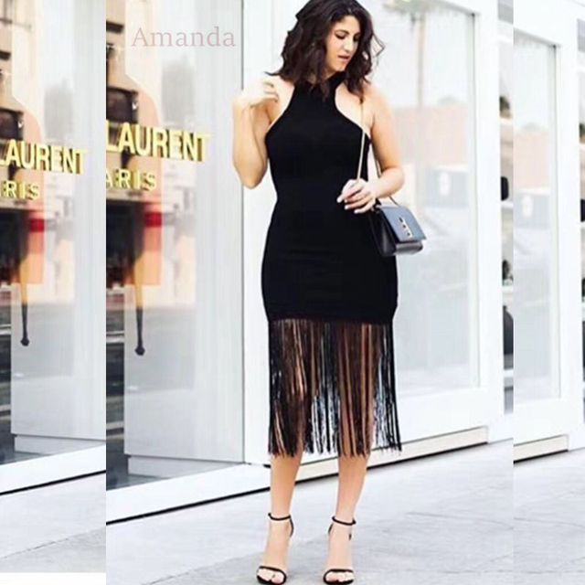 0b2ba820dba black tassel summer bandage dresses midi sexy backless halter women runway  brief fashion party dress babatique sleeveless gown